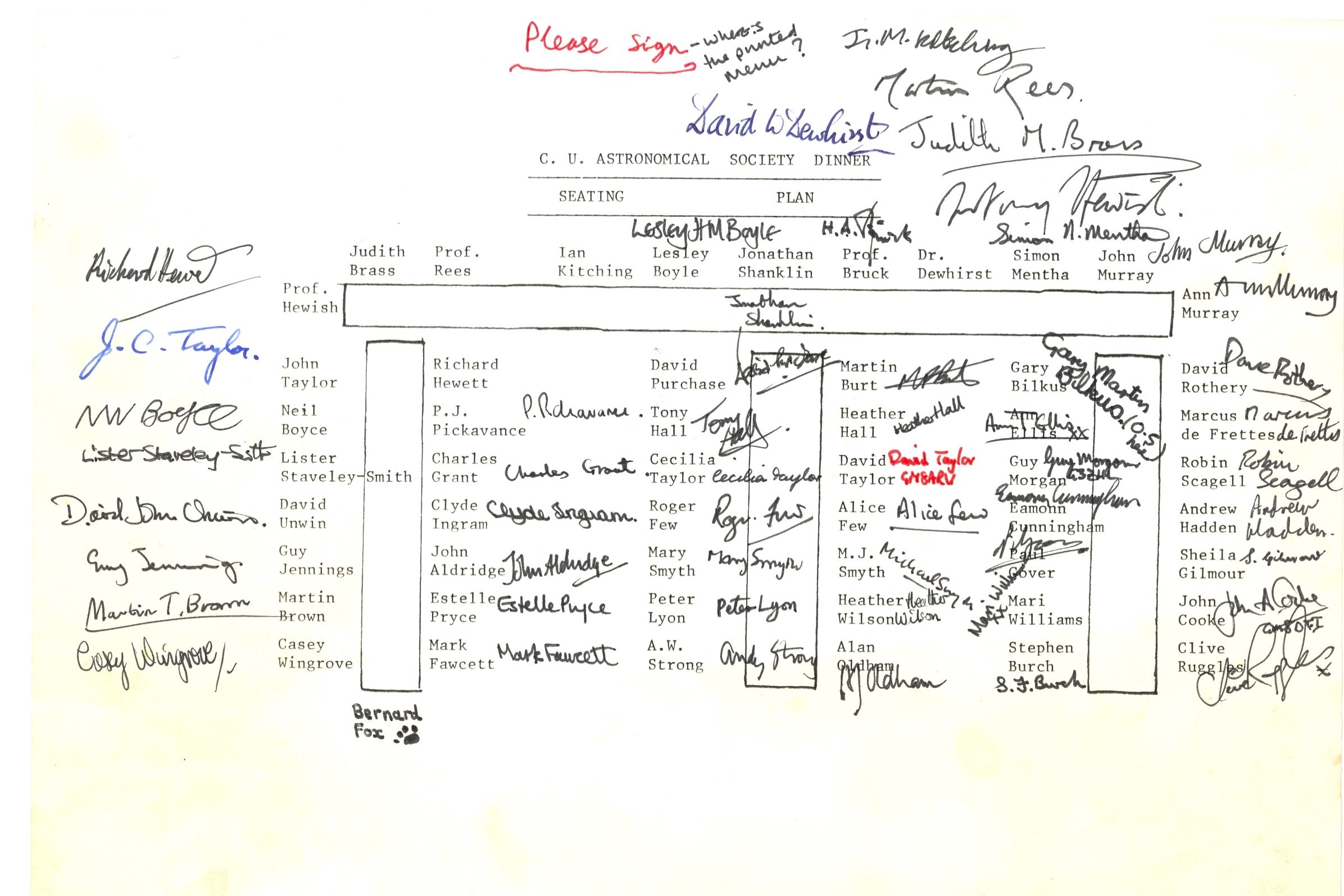 Signed seating plan for 35th Annual Dinner