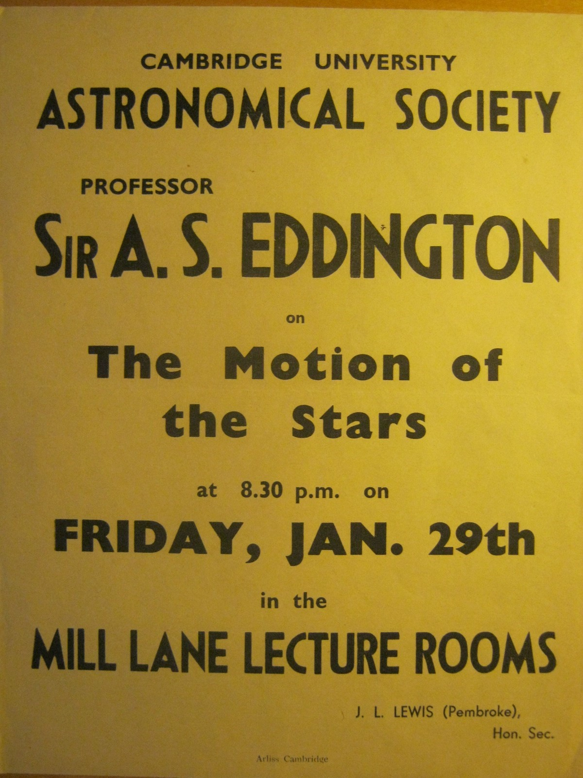 Poster for Arthur Eddington talk 1943