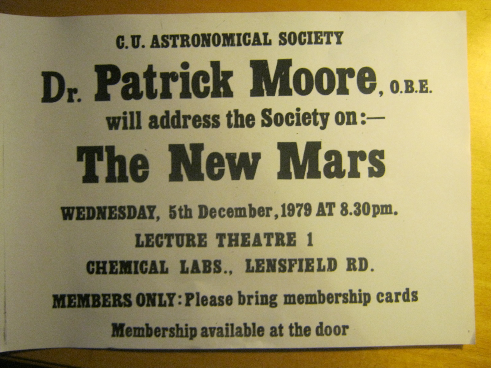 Poster for Patrick Moore talk 1979